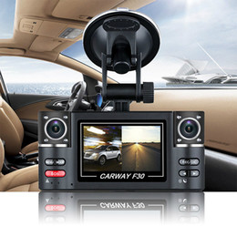 "Wholesale Dual Car Dvr Recorder - Dual Lens Car Vehicle 1080P HD Dash Camera DVR Cam 8 Night Vision Recorder 2.7"" Carway F30 car dvr"
