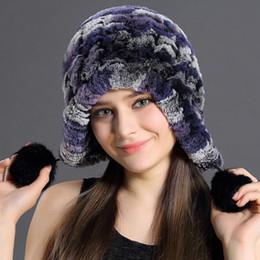 Wholesale Russian Ushanka Fur Hat - Women Genuine Knitted Rex Rabbit Fur Hats Russian Hat ushanka Natural Stripe Rex Rabbit Fur Caps lady winter Warm Head Wear Free