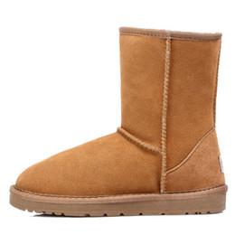 Botas de piel azul online-2018 australiano clásico cuero genuino forrado de piel de lana Botines de gamuza botas de nieve de invierno bailey arco azul marino marrón Mini botas us5-9