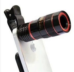 Wholesale Telescope Lenses For Cell Phones - Telescope Lens 8x Zoom Unniversal Optical Camera Telephoto Len with Clip for Iphone Samsung HTC Sony LG Mobile Smart Cell Phone DHL