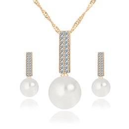 Wholesale 925 China Diamond Earrings - 2017 Newest Women Crystal Pearl Pendant Necklace Earring Jewelry Set 925 Silver Chain Necklace Jewelry