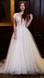 Wholesale Winter Dressess - 2016 New Design Lace Wedding Dress Cheap Bohemian Lace Square Illusion Special Wedding Dressess Custom Made Organza Bridal Gowns