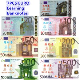 Wholesale Ceremony Room Decoration - 7PCS EURO Learning Banknotes Commemorative Arts Gifts 500 200 100 50 20 10 5 1:1 Bank Staff Training Collect Banknotes Home Arts Crafts