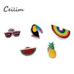 Wholesale new pin badges - New Cartoon DIY Collar Brooch Set Rainbow Watermelon Pineapple Crow Eyesweyes Enamel Lapel Pins Badge for Women Fashion Jewelry Wholesaler