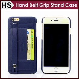 Wholesale Iphone Case Hand Holder - For iPhone 6 6S Plus Hard Leather Case , Premium Wallet Belt Hand Grip Strap Cover With Kick Stand Card Slot Holder Free Shipping