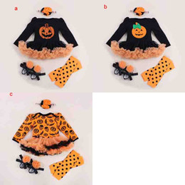 Wholesale Baby Crib Shoe Sizes - Baby Girls 4pc HALLOWEEN Set 0-2Y pumpkin tutu long sleeve romper & crib shoes & legwarmer lace Ruffled Black Orange & headband outfit