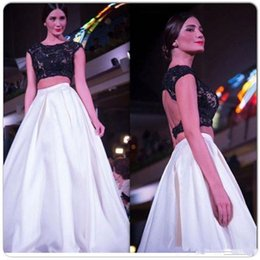 Wholesale Sleevless Party Dress - 2018 Arabic Two Piece Prom Dress Jewel Sleevless Lace Satin A Line Long 2 Pieces Arabic Evening Dresses Party Formal Homecoming Gown Cheap