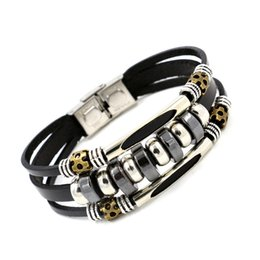 Wholesale Men S Bracelets Stainless - Men 's Bracelet Wholesale Black Stones Stainless Steel Buckle Bracelet Retro Beaded hematite Leather Bracelets Bangle Woman