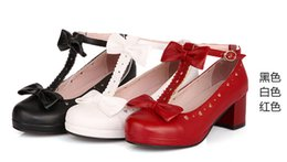 Wholesale Dresses For Office Girls - 2016 hot new Sweet T Cutout Bow Strap Round Toe Casual Thick Heel Single Shoes.Cosplay and Lolita Shoes for Woman and Girl