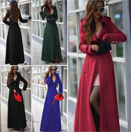 Wholesale One X S - Fashion Long Winter Coats For Women Slim A-Line Wool Blend Slouch Coat Lapel Neck One Button X-Long Trench Coat Formal Dress Outwear