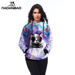 Wholesale Galaxy Cats Sweatshirts - NADAO Galaxy Women Hoodies Sweatshirt Cute Alien Cat Printed moletom Outside Tracksuit Woman Sudaderas