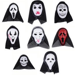 Wholesale Horror Mask Full Face - Halloween Costume Party Long Face Skull Ghost Scary Scream Mask Face Hood Scary Horror Terrible Mask with Hood 0708017
