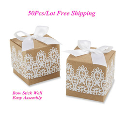 Wholesale Cheapest Bag Box - (50Pcs lot) Cheapest Wedding Gift box of Rustic and Lace Favor Box for Wedding party favor box and gift bags Kraft candy box Free shipping
