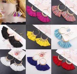 Wholesale Fringe Jewelry - 17 Colors Womens Fashion Bohemian Earrings Long Tassel Fringe Dangle Hook Earring Eardrop Ethnic Jewelry Gift