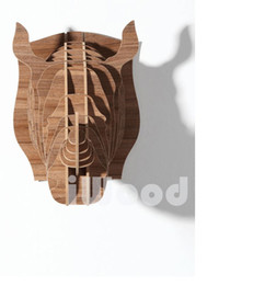 Wholesale Carved African Animals - African animal Rhino head wooden carving,European-style bar&restaurant decoration,Nordic North America,Canada style home decor