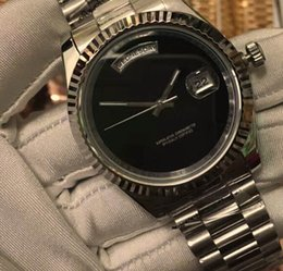Wholesale Glasses For Round Faces - Luxury Branded For Mens Mechanical Watches President Date Black Face Male Silver Stainless Steel Day Sapphire Modern Man Wristwatch Gift Box