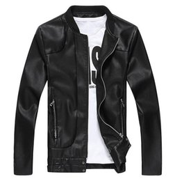 Wholesale Korean Leather Jacket Style - MLJ23 2017 New men jacket Men's Solid Korean Style Fashion Male Casual PU Leather Jacket Slim Fit Solid Big Size M-5XL Coat men