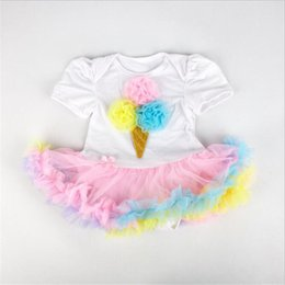 Wholesale Chiffon Material Wholesale - Kids Short Sleeve Rompers Cotton and Chiffon Material Girls Romper with Tutu Skirt for the whole years
