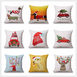 Wholesale Wholesale Reindeer Decor - Christmas Pillows Case Xmas Pillow Cover Reindeer Elk Throw Cushion Cover Tree Sofa Nap Cushion Covers Santa Claus Home Decor 45*45cm B2864