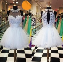 Wholesale Wedding Dresses Cheaper - Hoot Cheaper Beach hot A-Line Wedding Dresses Illusion Short Jewel Covered Buttoon Lace Applique Beads Tulle Short Wedding Dresses