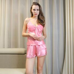 Wholesale Girls Silk Shirt - Wholesale-sexy women nightwear pajamas sets summer style vs brand high quality pink silk girl sleeveless pyjamas & shorts sets wholesale