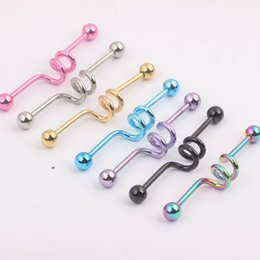 Wholesale Barbell Ring 14g - 2016 Fashion Scaffold Industrial Barbell Earring 14G Long Tongue Ring 40pcs lot Body Piercing Jewelry