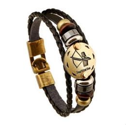 Wholesale Bronze Fishing Hooks - Fashion Bronze Alloy Buckles 12 Zodiac Signs Bracelet Punk Leather Bracelet Wooden Bead + Black Gallstone For Men Charm Jewelry high quality