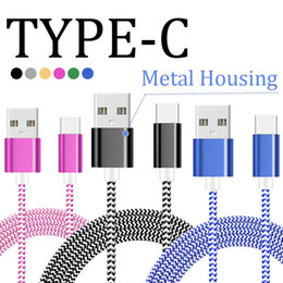 Wholesale Metal Android Phones - Braided Micro USB Cable Durable Tinning High Speed Charging USB Type C Cable with 10000 Bend Lifespan Metal Housing for Note 8 Android Phone