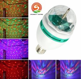 Wholesale Led Color Change Mini Ball - Promotion Magic Ball RGB Full Color 3W E27 LED Bulb Crystal Auto Rotating Stage Effect DJ Light Bulb Mini laser Stage Light