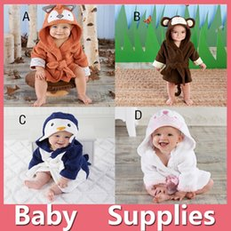 Wholesale Wholesale Terry Bathrobes - Kids Animal Bathrobe Toddler Girl Boy Baby Cartoon Pattern Robes Towels Hooded Bath Towel Terry Wrap Bath Robes 16103105