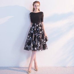 Wholesale Star Model Dress - Evening Dress 2017 Elegant Black Lace Scoop Neck Short Sleeves Tulle Zipper Back Knee Length Stars Pattern Party Prom Dress
