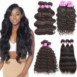 Wholesale Wholesale Real Peruvian Virgin Hair - Top Quality 8a Grade Real Brazilian Virgin Hair Bundles Straight Body Wave Hair Weaves Water Wave Kinky Curly Remy Human Hair Extensions