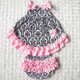 Wholesale Swing Sets Babies - Hot sell Summer style Sweet princess Sleeveless Baby girls Swing back Top set 4Color Patchwork baby girls clothing set
