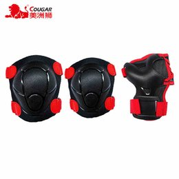 Wholesale Adult Ice Skating - COUGAR NEW 6pcs set Skating Protective Gear Sets Elbow pads Bicycle Skateboard Ice Skating Roller Knee Protector For Adult Kids
