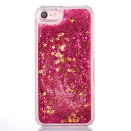 Maçãs flutuantes on-line-Líquido Glitter Quicksand Hard Case para Iphone 7 Plus 7G I7 Iphone7 Movimentação colorida estrelas brilhantes Floating claro transparente Pele Cover Flow