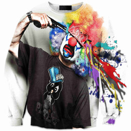 Wholesale Gothic Sweatshirt - Unisex Gothic New Punk Hipster Printed Clown Long Sleeves Sweatshirt Crew Neck Sweater More Big Size Lovers Clothing