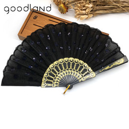 Wholesale Folding Hand Fans Cloth - Wholesale Free Shipping Home Decoration Crafts Vintage Retro Peacock Folding Fan Hand Plastic Lace Dance Fans