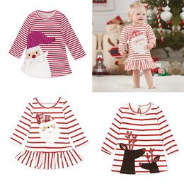 abito di babbo natale per la bambina Sconti Baby Girls Christmas Party Costume Cosplay Principessa Babbo Natale Deer Elk Dress Stripe manica lunga gonna