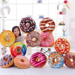 Wholesale pizza toys - Hot 12 Styles 40cm Doughnut Pillow Shaped Ring Plush Soft Cushion Colorful Donut Pizza Cushion Decorative Pillow Plush toys IB377