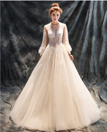 Wholesale three point perspective - 2017 new elegant three-dimensional handmade flower small round neck perspective shoulders seven points lantern sleeves wedding dress