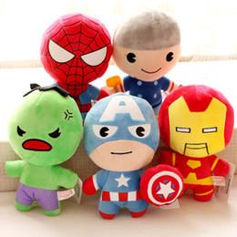 Boneca de pelúcia on-line-Varejo maravilha Os Vingadores de brinquedo de pelúcia Capitão América Homem De Ferro Wolverine X-Men Thor homem Aranha 5 pçs / set boneca macia de pelúcia brinquedo 12-22 cm