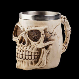 Wholesale Decoration Mug - 301-400ml 3D Skull Chaacter Coffee Beer Tea Mug Fashion Home Party Bar Xmas Decoration Stainless Steel Vinatge Cup