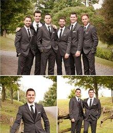 Wholesale Groom Suit Grey - fashion Cheap Wedding Tuxedos Groomsmen Suits Custom Made Dark Grey Grooms Tuxedos High Quality Tuxedos (Jacket+Pants)