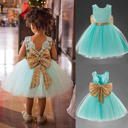 Wholesale Embroidery Baby Dress - 2018 Girls summer sequins big bow sleeveless princess dress kids embroidery lace tutu dress baby birthday party clothes 4 colors for 1-5T
