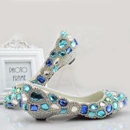 Wholesale blue wedding shoes for bride - Blue Rhinestones Wedding Shoes For Bride Bridal Pumps 2.5cm 6cm Low Heel Comfortable Wedding Shoes for Bride Flats US5-US9 Beaded Shoe