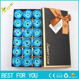Wholesale Wholesales Scented Soap - New hot 18pcs set Scented Soap Rose flower Essential Oil Set with Gift Box romantic Lover Valentine's Day Wedding Gifts Body Bath Flowers