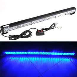 Wholesale 27 Led Light Bar - 27 Inch 24 LED Blue Emergency Traffic Advisor Flash Strobe Light Bar Warning Lamp
