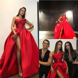 Wholesale Strapless Ruched Satin Ball Gown - New Fashion Red Plus Size Evening Dresses 2017 Sexy High Split Strapless Ball Gown Prom Dress Backless Floor Length Celebrity Pageant Gowns