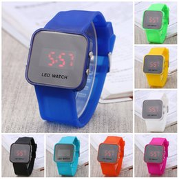 Wholesale Square Shape Watches - Watches for women Hot Square Mirror Face Silicone Band Digital Watch Red LED Watches Quartz Wrist Watch Sport Clock Hours Digital LED Watch