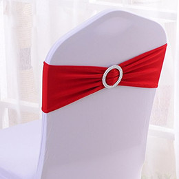 Wholesale Chair Bow Spandex Purple - Polyester Spandex Banquet Wedding Party Chair Sashes Bows Elastic Chair Bands with Buckle Slider Sashes Bow